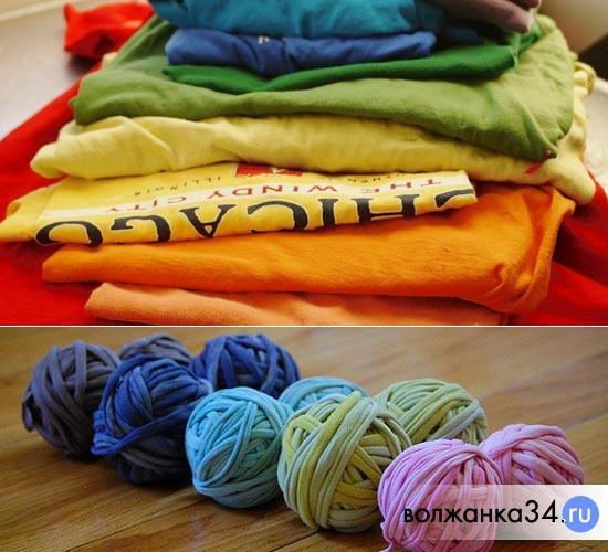 Футболки, нарезанные для вязания коврика