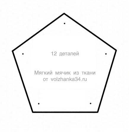 Выкройка для тряпичного мячика из пятиугольников